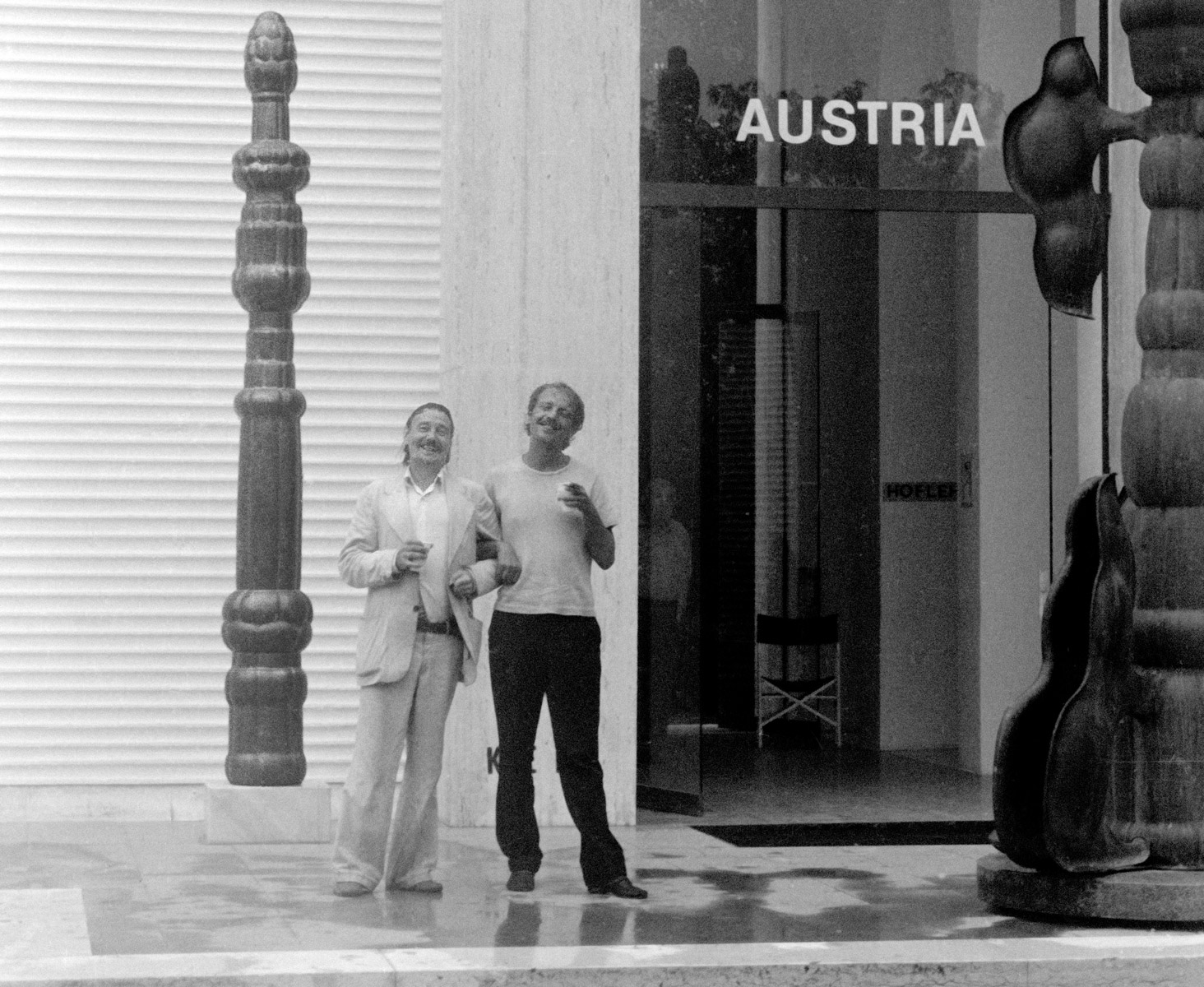 This photo (© Freddie Jellinek) shows 29 year old Franz West together with his older brother Otto Kobalek at the Austrian Pavilion 1976